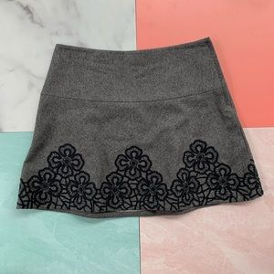 Tibi Embroidered Floral Wool Gray Mini Skirt